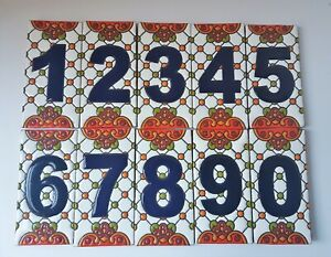 Talavera Style Mexican pottery House /Door Number Folk Art Hand Painted