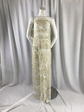 Ivory/ Metallic Gold French Design Embroider And Hand Beaded On A Mesh Lace-yard