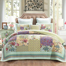 Quilts Coverlet Super King 265cm x 285cm Floral Avocado backing Inc 2 pillowcase