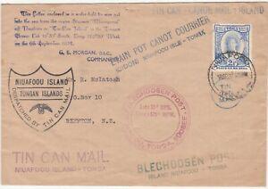 Tonga: Tin Can Mail Cover: Niuafoou to Reefton, New Zealand, 6 & 18 Sep 1937