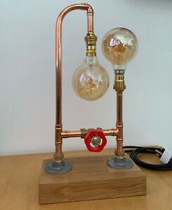 Table Lamp Vintage (Retro) Copper Pipe / Brass