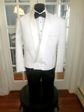 MENS VINTAGE WHITE SHAWL LAPEL ETON TUXEDO RAFFINATI DOUBLE BREASTED 4 PCS 46L