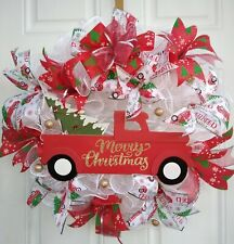 Deco Mesh Door Wreath Little Red Truck Christmas Holiday  22""