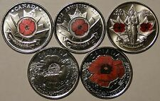 *Lest We Forget* BU Canada 2004 2008 2010 2015 poppy quarter coin set
