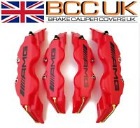 NEW Red Brake Caliper Covers Kit AMG Logo Front Rear 4pcs M+S fits Merc