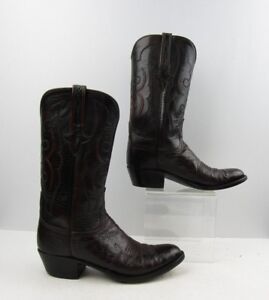 Men's Lucchese Burgundy Smooth Ostrich Leather Cowboy Western Boots Size: 8.5 D