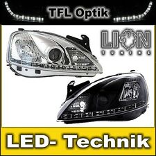 LED Tagfahrlicht Optik Scheinwerfer Opel Corsa C, Combo Chrom Schwarz Schwarze