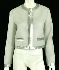 MOSCHINO COUTURE Metallic Silver Polka Dot Semi-Sheer Cropped Jacket 44