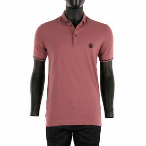 DOLCE & GABBANA Crown Embroidered Cotton Polo Shirt Rose Pink Black 08135