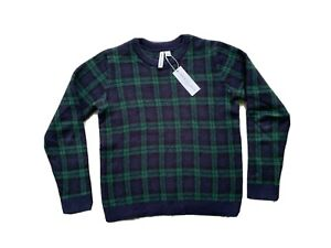 Janie and Jack Boys Navy and Green Plaid Sweater Size 10