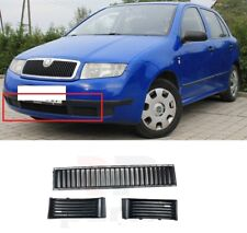 FOR SKODA FABIA 1999 - 2002 NEW FRONT BUMPER CENTRE LOWER GRILLE PAIR SET BLACK