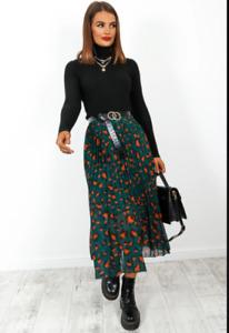 Ladies Womens pleated skirt Mixed print Brown Tan 8-14 John Zack