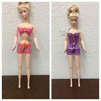 Barbie Doll Outfit Lot Of 2 Bathing Suit & Jumper Sparkly Orange Purple #9