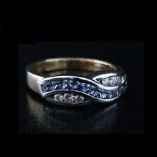 Brand New 18ct yellow white gold Ceylon sapphires princess cut diamonds ring