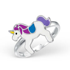 925 Sterling Silver Adjustable Magical Unicorn Blue & Purple Kawaii Ring