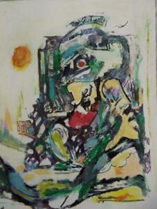 WALTER FIRPO 1903-2002 Picasso Period Mixed Media Painting 1970 HIDDEN FIGURE