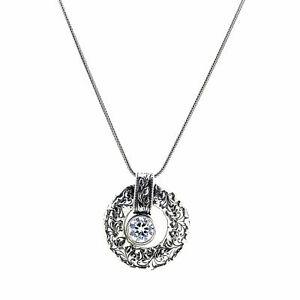 Shablool Sterling Silver 925 Pendant Necklace Purple Amethyst Zircon Unique New