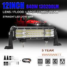"OSRAM 12INCH 840W 10D LED Work Light Bar Spot Flood Quad Row For Jeep VS 12"" 15"""