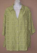 5fe3da58241a15 Womens Plus Size 1X 16W Long 3 4 Sleeve Spring Fashion Green Blouse Top  Shirt