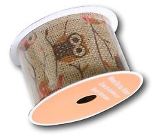 """Jute Burlap Mesh Wired Ribbon Roll, Natural Tan w OWLS 2.5"""" x 5 YDS, WIRE EDGE"""