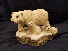 Vintage Polar Bear with 2 Baby Cubs Statue Figurine