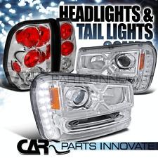 02-09 Chevy Trailblazer SMD LED Strip Chrome Projector Headlights+Tail Lamp
