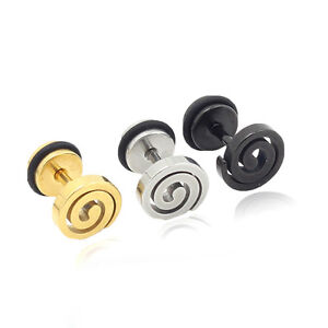Silver Black Gold Stainless steel Spinning Mosquito Men pierced ear stud earring