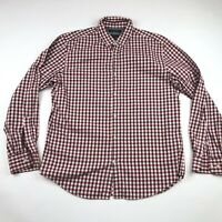 Banana Republic Mens Red Button Down Camden Fit Luxe Flannel Shirt Large