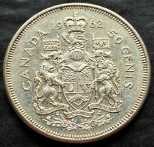 1962 Canada Silver 50 Cent Half Dollar Coin - 80% Silver - Great Condition