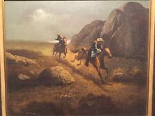 Stunning Original Vintage Oil Painting Western West Cowboys Signed O. Sullivan
