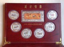 7 Medaillen China mit Briefmarkendekor im Holzschatulle+Buch+Briefmarkenset