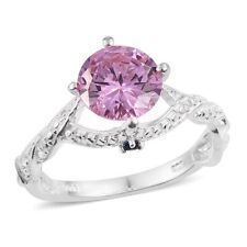 PINK SIMULATED DIAMOND ENGAGEMENT OR RIGHT HAND RING SIZE 7 STERLING SILVER