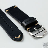 Black Genuine Leather Vintage Style Watch Strap 20mm & 22mm