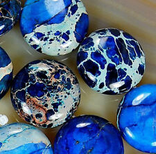 "16mm Blue Sea Sediment Jasper Coin Beads 16"""