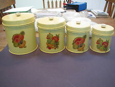 1940-50's Ekco 4 pc yellow w decals, hinged lid, graduated metal cannister set