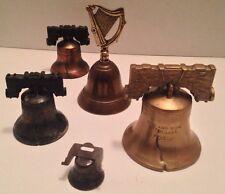 "Antique Brass Sarna,India Bells-""Pass & Stow"" cracked + Harp & Liberty Charm!"