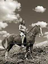 Large Reprint Vintage Native American Indian PHOTO NEZ PERCE WARRIOR Rides Horse