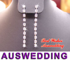 Wedding Bridal Single Strand Crystal Earrings 5cm Long
