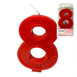 Sussies Number 8 8th Birthday Candle Red Sparkle Glitter Cute Cake Topper
