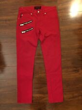 Tripp NYC SKINNY PANTS Size 28 Goth Punk Skater Solid Red Jeans Silver ZIPPERS