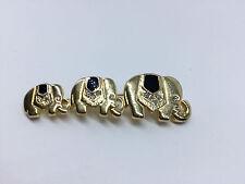 Tolle goldfarbene Elefanten Brosche Anstecknadel mit Steinen