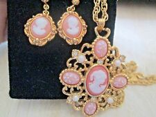 AVON*VICTORIAN STYLE CAMEO NECKLACE & DANGLING CAMEO EARRING SET*NEW IN ONE BOX*