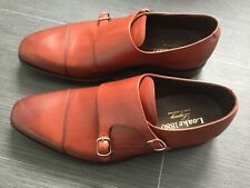 mens LOAKE Leather Wensum Monk Strap Shoes Double Buckle conker brown UK 8.5 F