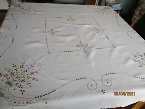 "VINTAGE CUTWORK & EMBROIDERED TABLE CLOTH 48""  X 49"""
