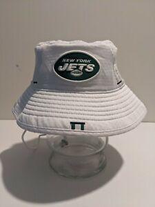 New Era NFL New York Jets NYJ On Field Players Training Bucket Hat Cap White OSF