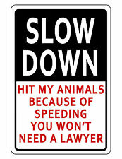 Slow Down Sign Animal Protection Durable Aluminum No Rust Full Color Custom Sign
