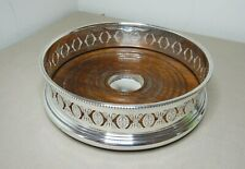 ANTIQUE SILVERPLATED & TURNED WOOD WINE COASTER BY BARKER-ELLIS ENGLAND