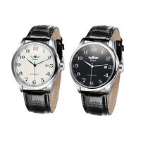 WINNER Simple Automatic Mechanical Leather Unisex Wrist Watch Day Display TG