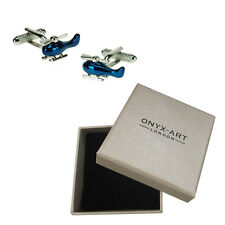 Mens Blue Chopper Helicopter Cufflinks & Gift Box By Onyx Art