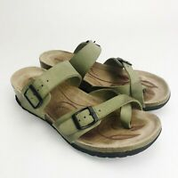 Romika Womens Size 40 US 9 Wedge Slip On Sandals Shoes Buckle Sage Green